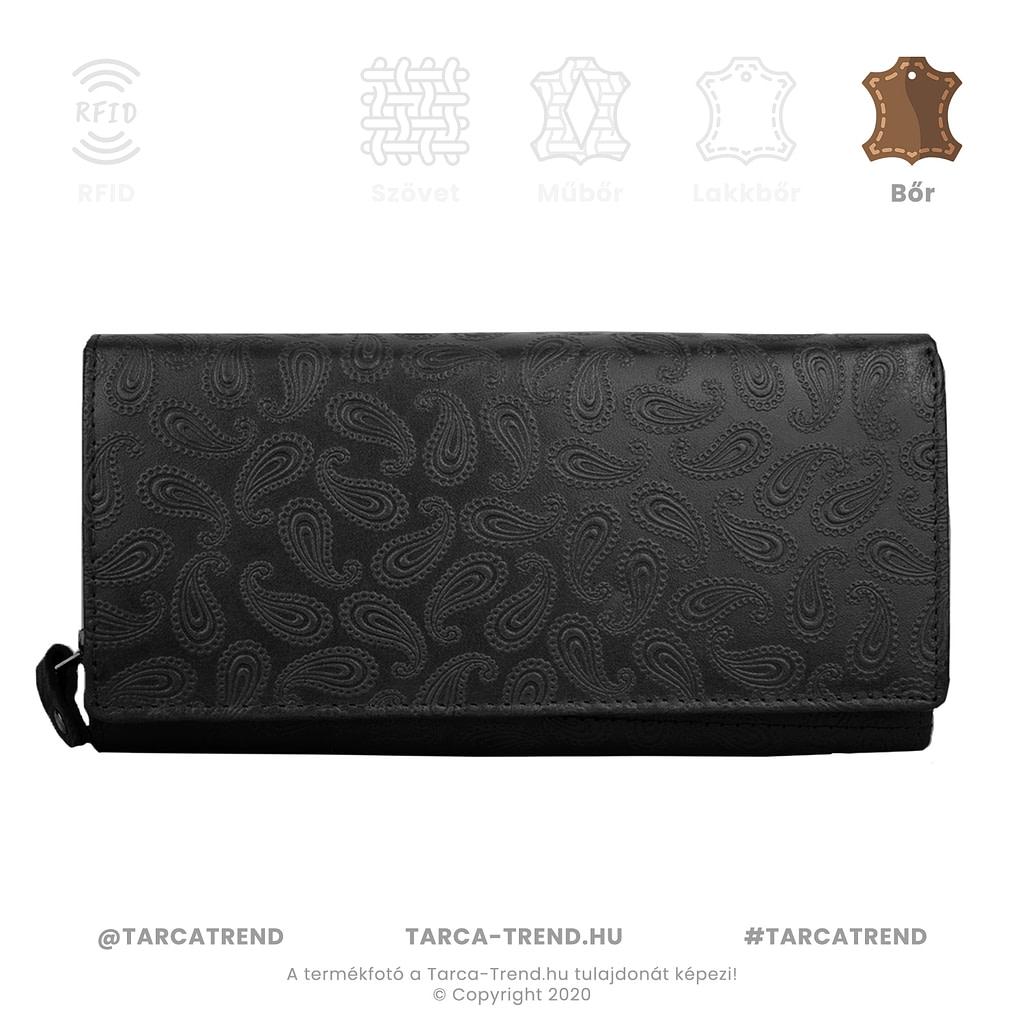 Farkas pénztárca fekete fekvő cipzáros csepp minta bőr 867141 tarca-trend.hu