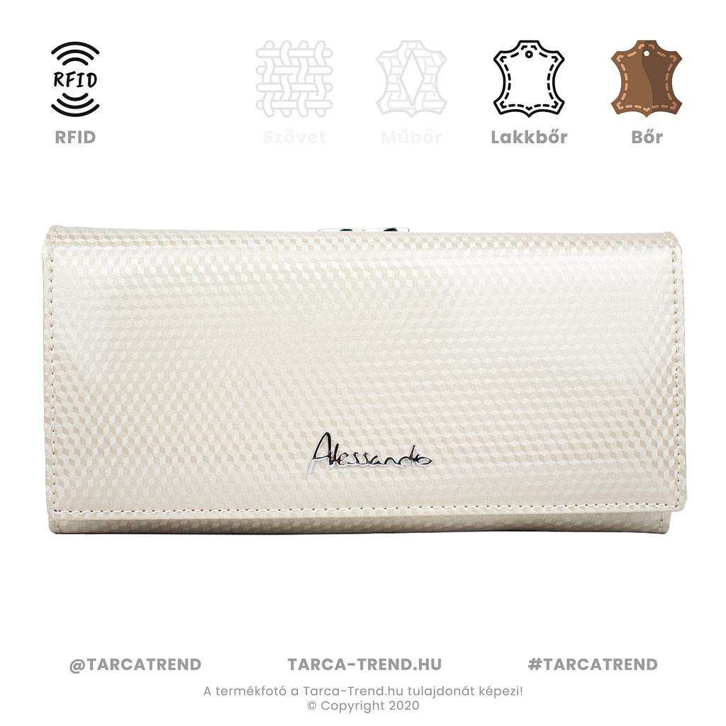 Alessandro Paoli keretes pénztárca beige lakkbőr RFID 5301 tarca-trend.hu