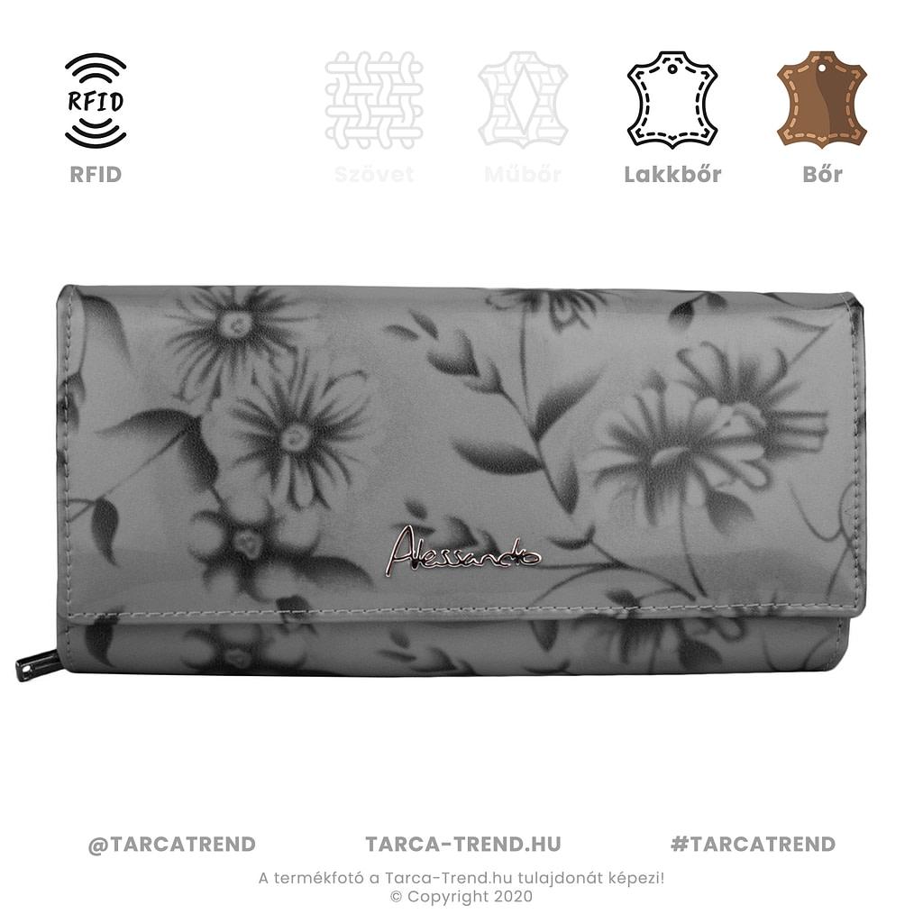 Alessandro cipzár pénztárca virág fekete lakkbőr RFID 5869 tarca-trend.hu