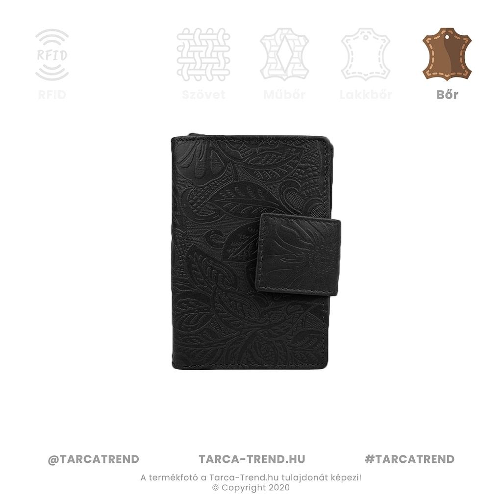 Farkas pénztárca fekete álló bőr virág minta 867342 tarca-trend.hu