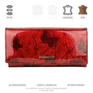 Moretti brifkó pénztárca pillangó piros bőr RFID AS512 tarca-trend.hu