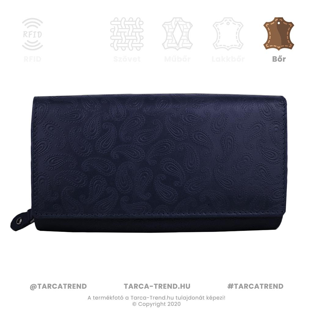 Farkas pénztárca kék fekvő cipzáros csepp minta bőr 867441 tarca-trend.hu