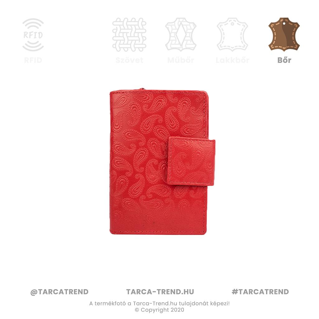 Farkas pénztárca piros álló bőr csepp minta 867341 tarca-trend.hu