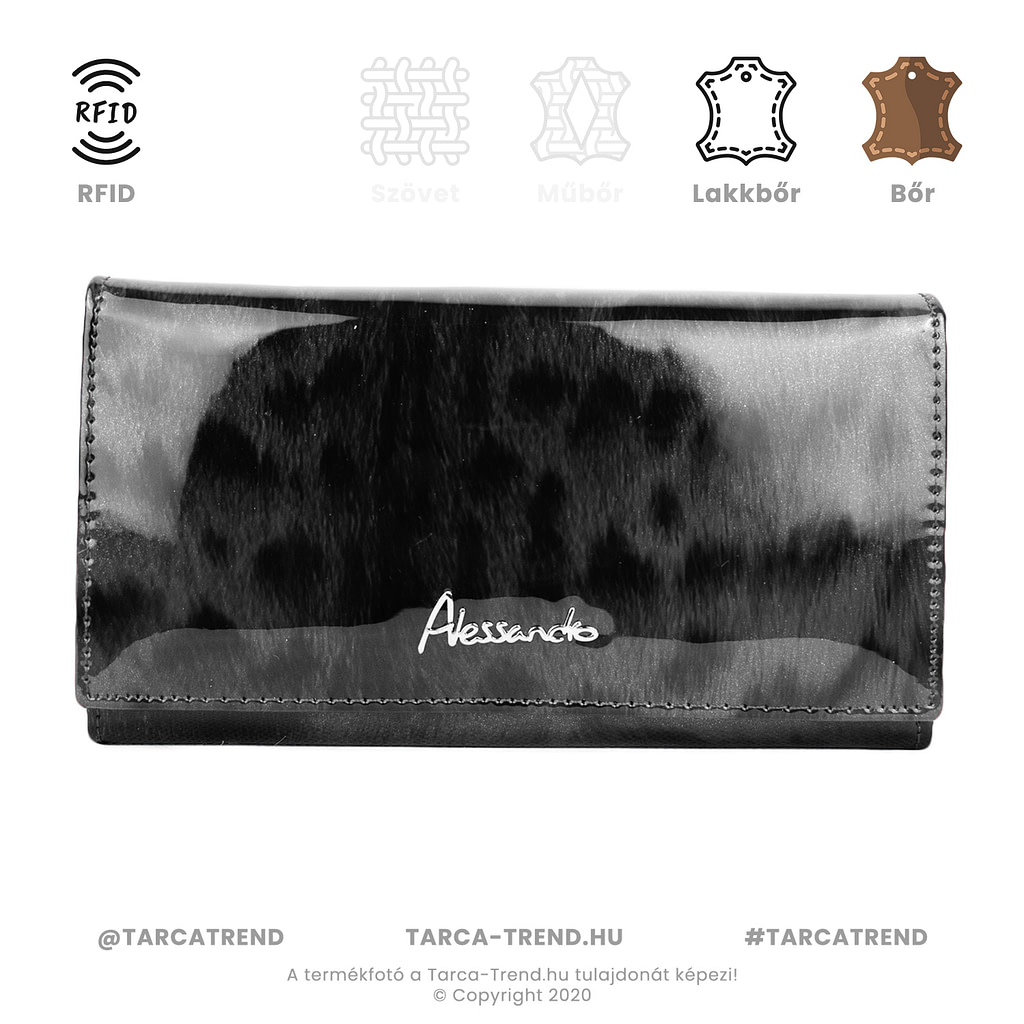 Alessandro Paoli pénztárca fekete szőrme lakkbőr RFID 5648 tarca-trend.hu