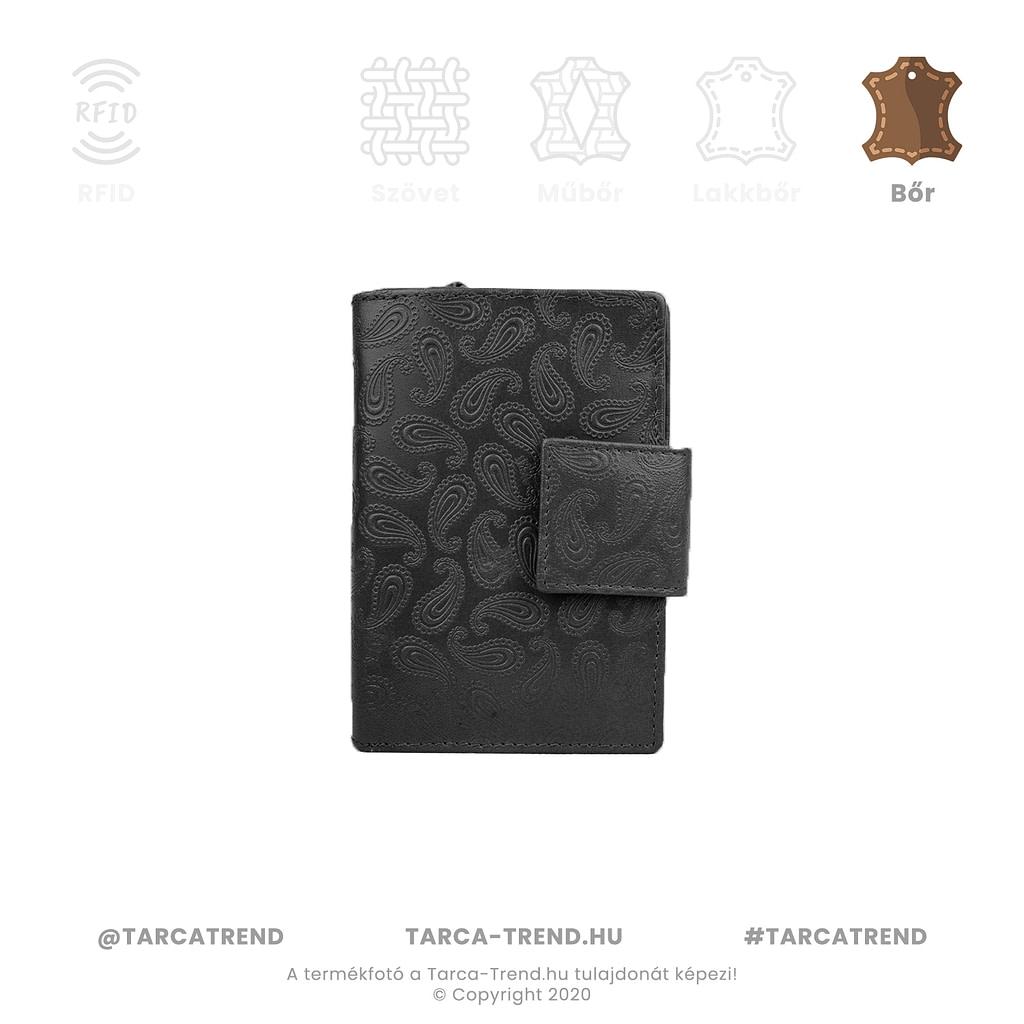 Farkas pénztárca fekete álló bőr csepp minta 867341 tarca-trend.hu