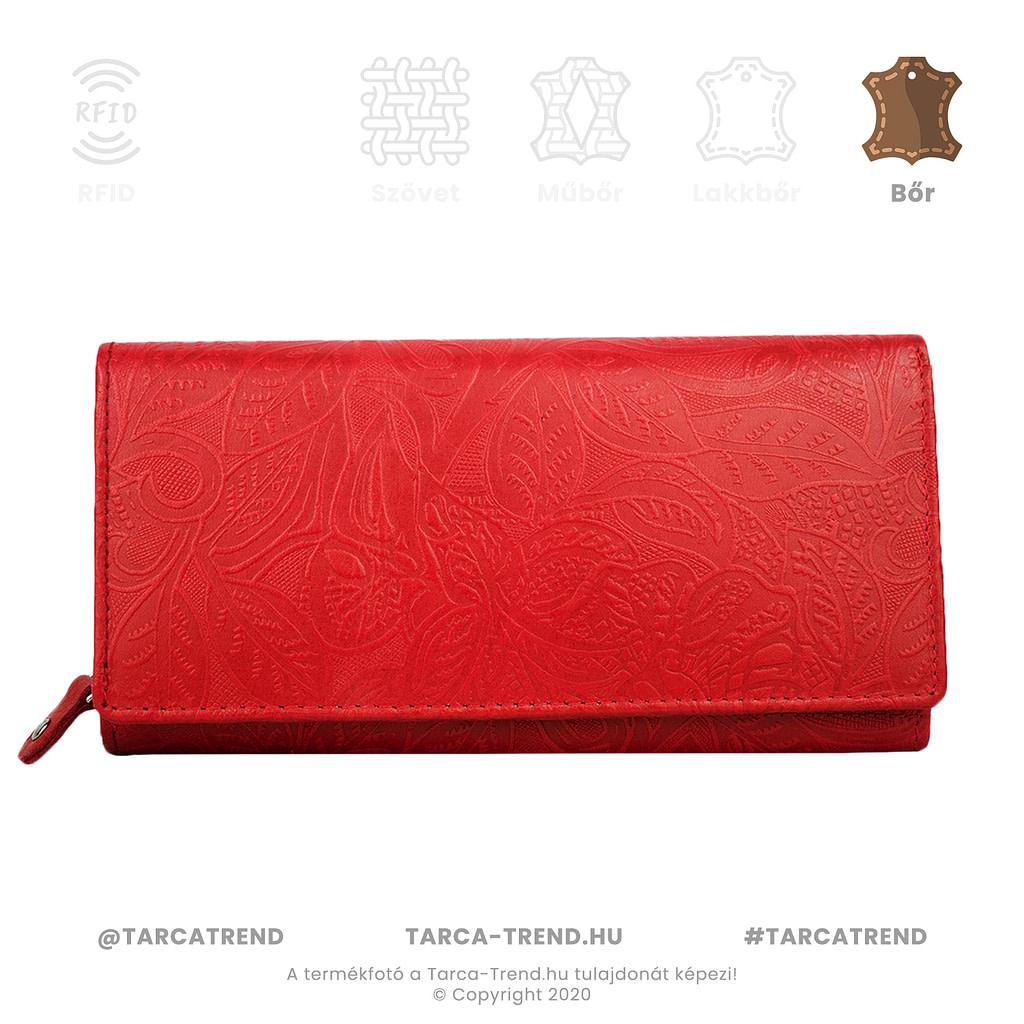 Farkas pénztárca piros fekvő cipzáros virág mintás bőr 867142 tarca-trend.hu