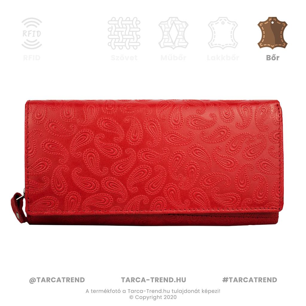 Farkas pénztárca piros fekvő cipzáros csepp mintás bőr 867141 tarca-trend.hu