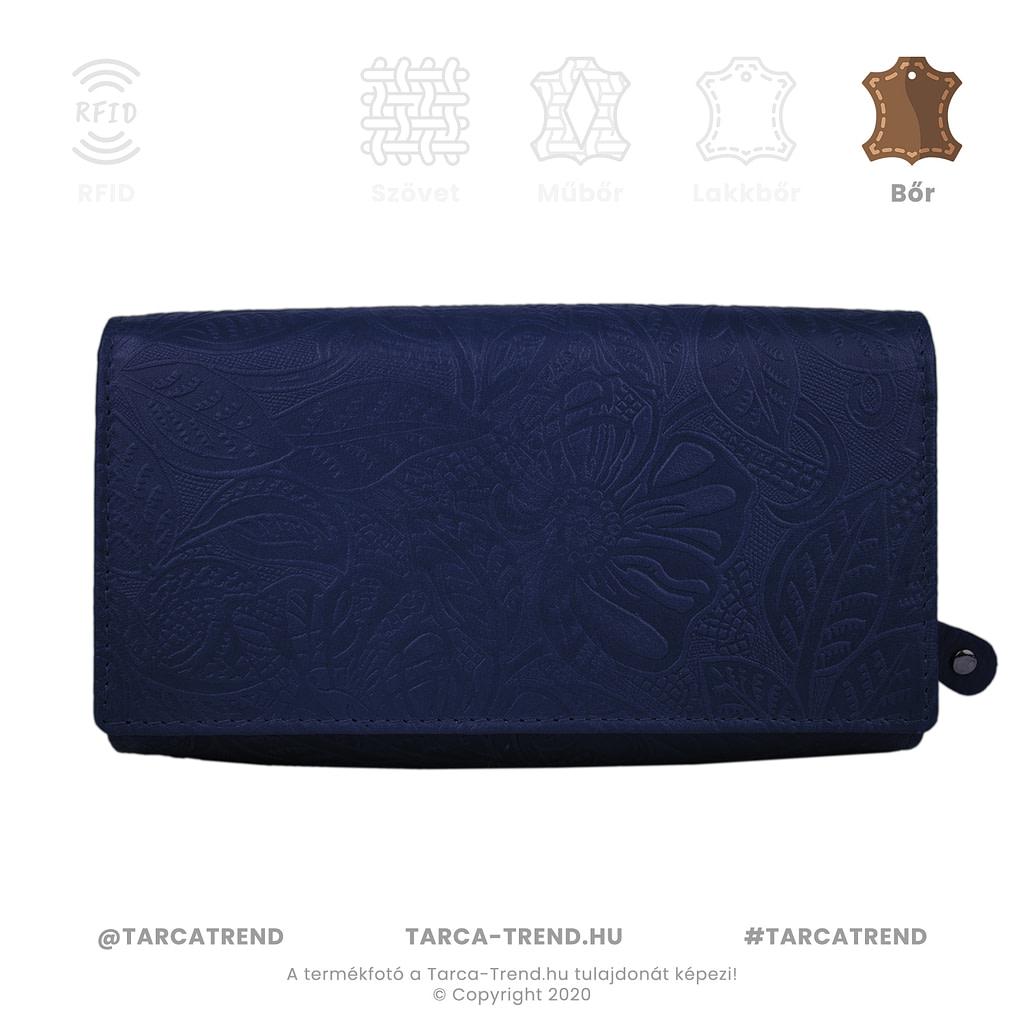 Farkas pénztárca kék fekvő cipzáros virág minta bőr 867442 tarca-trend.hu