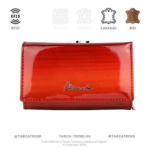 Alessandro Paoli keretes pénztárca piros bőr RFID 6004 tarca-trend.hu