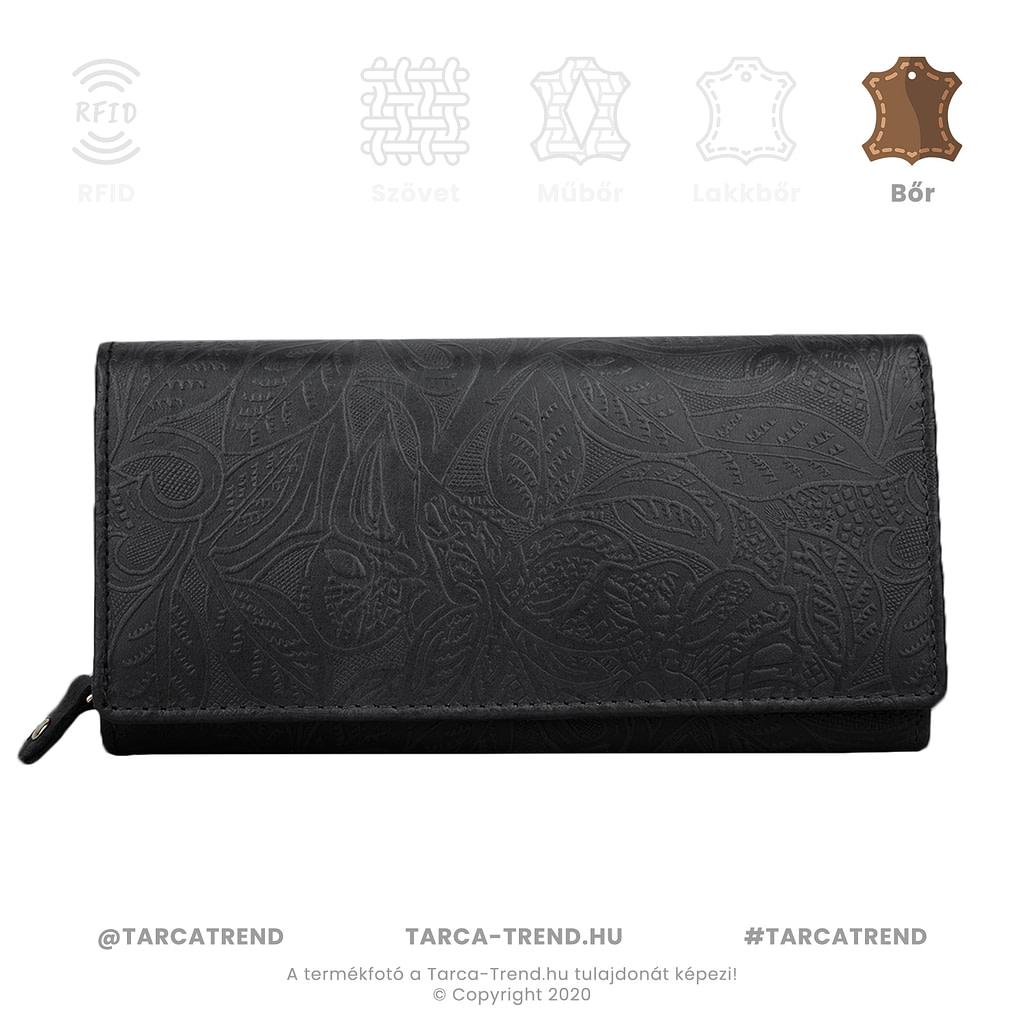 Farkas pénztárca fekete fekvő cipzáros bőr virág minta 867142 tarca-trend.hu