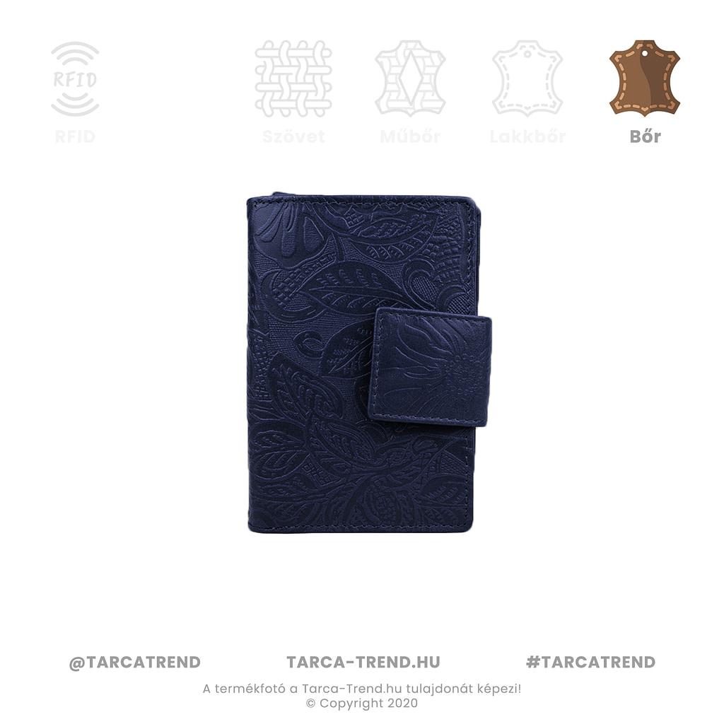 Farkas pénztárca kék álló bőr virág minta 867342 tarca-trend.hu