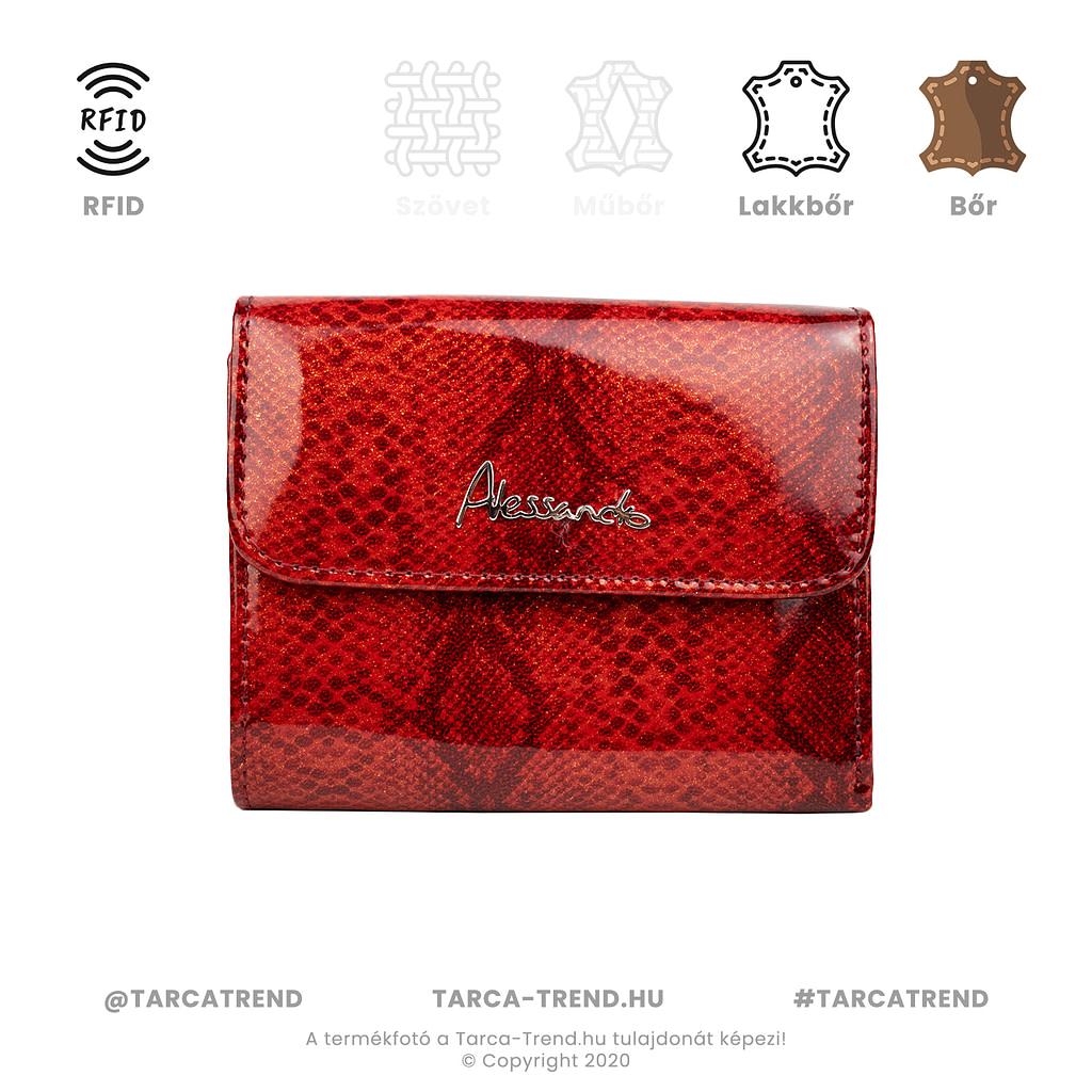 Alessandro, kis alakú, keretes kígyó mintás piros női pénztárca - tarca-trend.hu