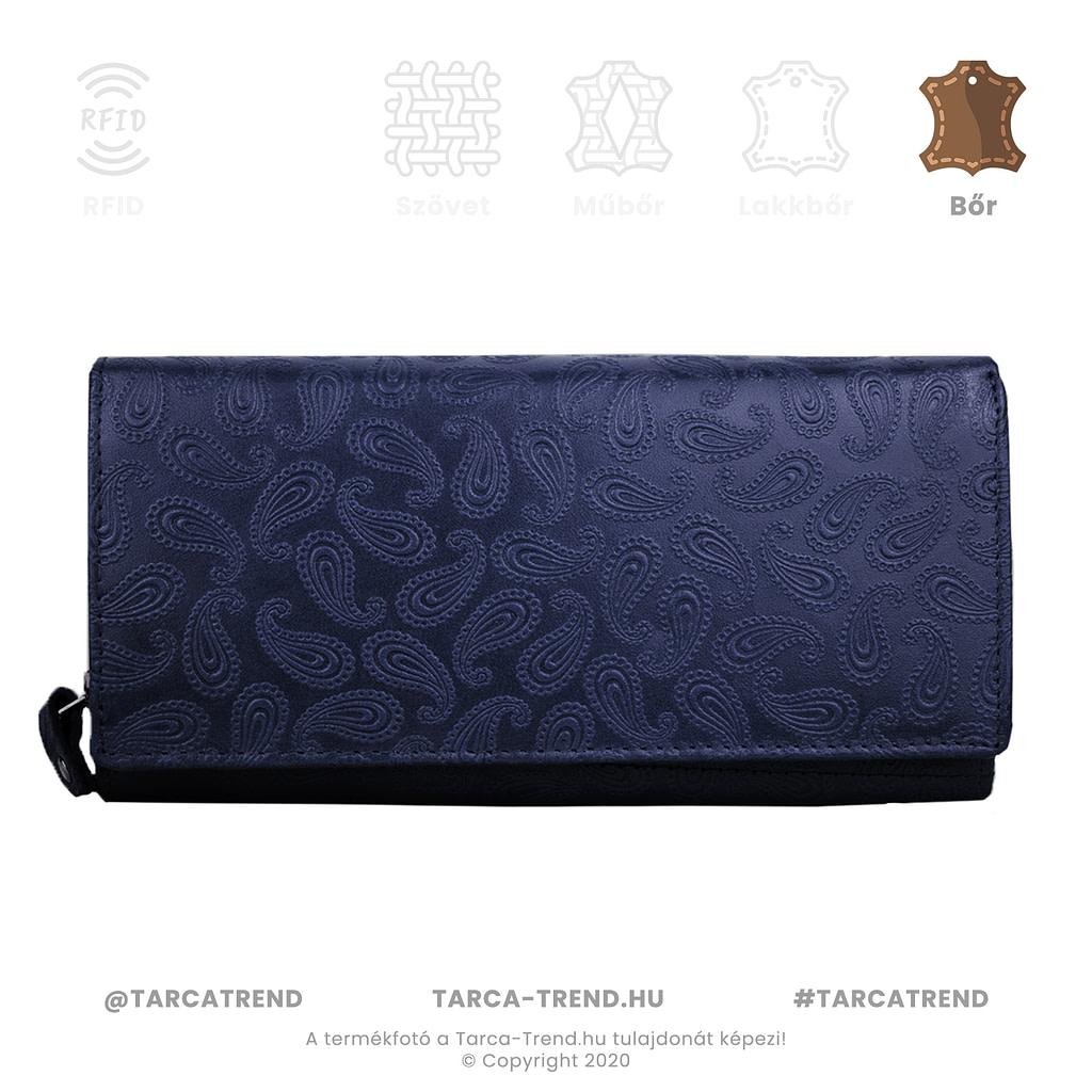 Farkas pénztárca fekete fekvő cipzáros bőr csepp minta 867141 tarca-trend.hu