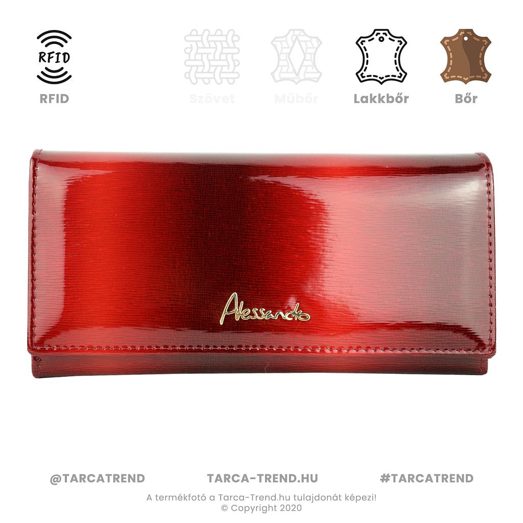 Alessandro Paoli pénztárca piros lakkbőr RFID 6267 tarca-trend.hu