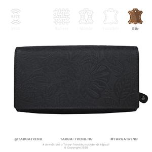 Farkas pénztárca fekete fekvő cipzáros virág minta bőr 867442 tarca-trend.hu