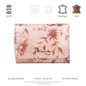 Alessandro cipzár pénztárca virág rózsaszín lakkbőr RFID 5856 tarca-trend.hu