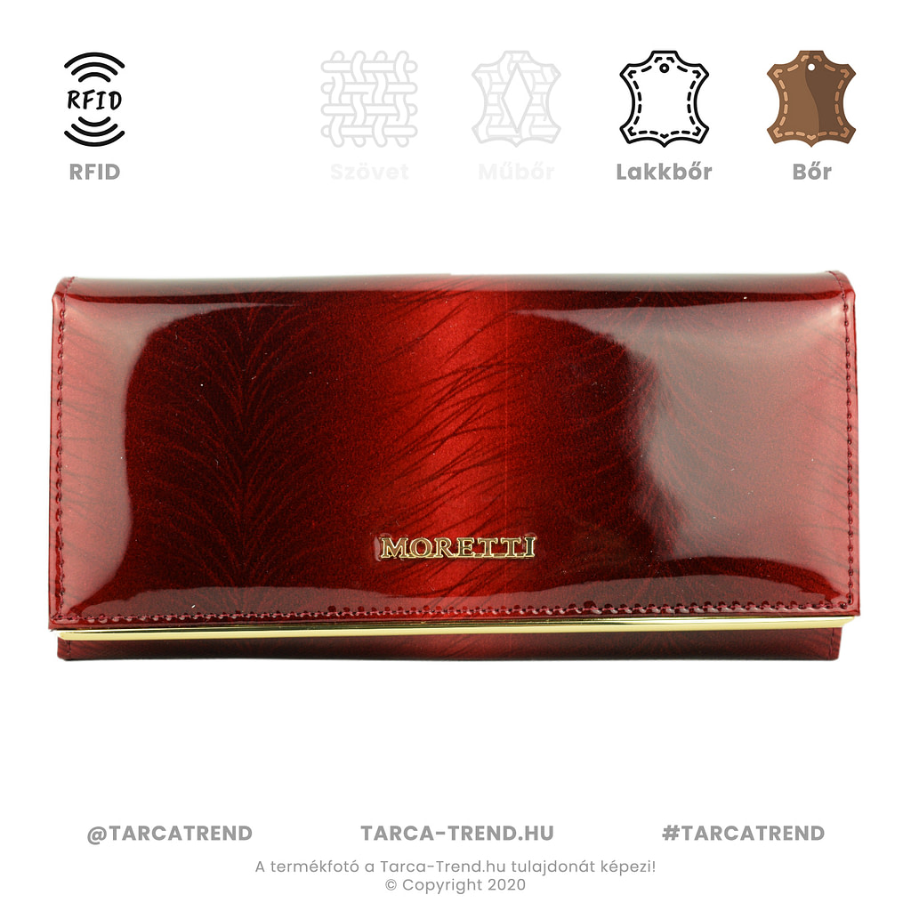 Moretti brifkó pénztárca pillangó piros bőr RFID ACE0807 tarca-trend.hu