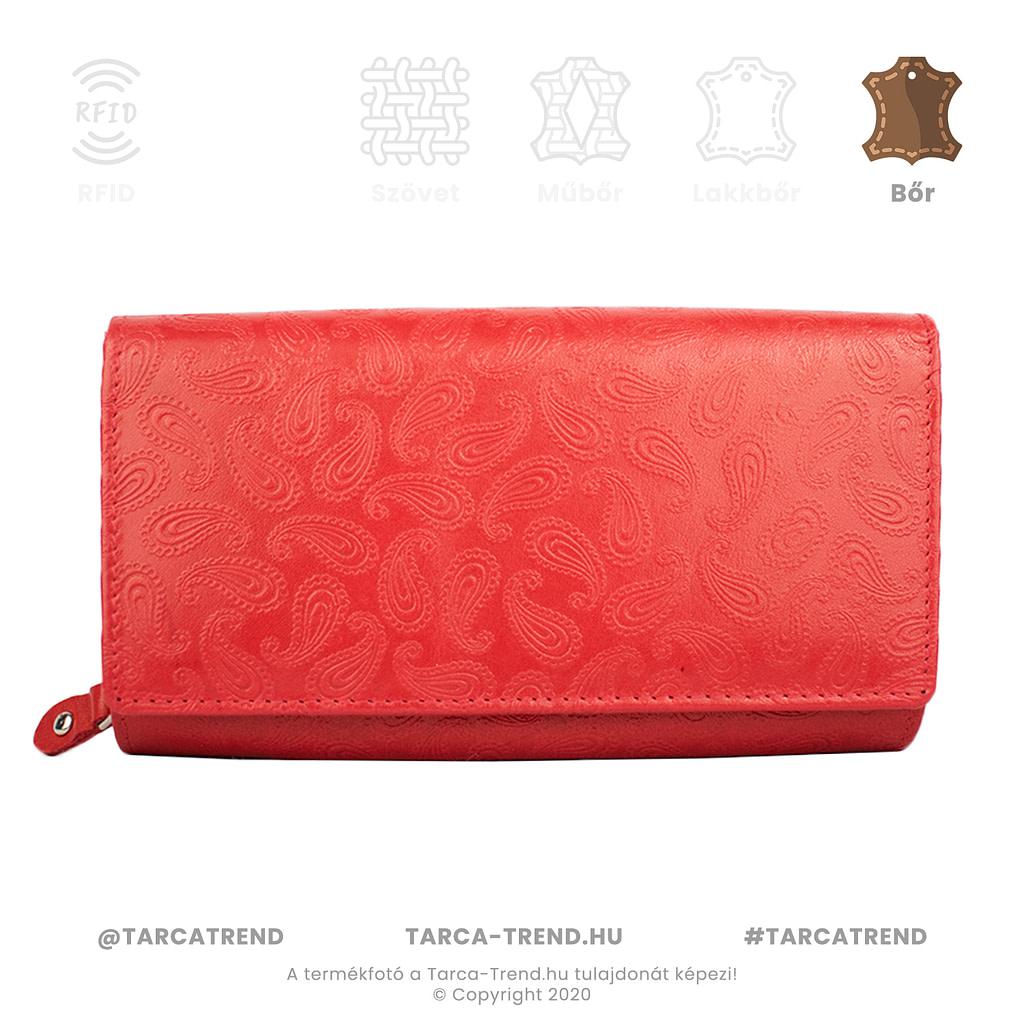 Farkas pénztárca piros fekvő cipzáros csepp mintás bőr 867441 tarca-trend.hu