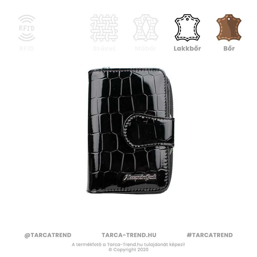Alessandro, kis alakú, keretes krokó mintás fekete női pénztárca - tarca-trend.hu