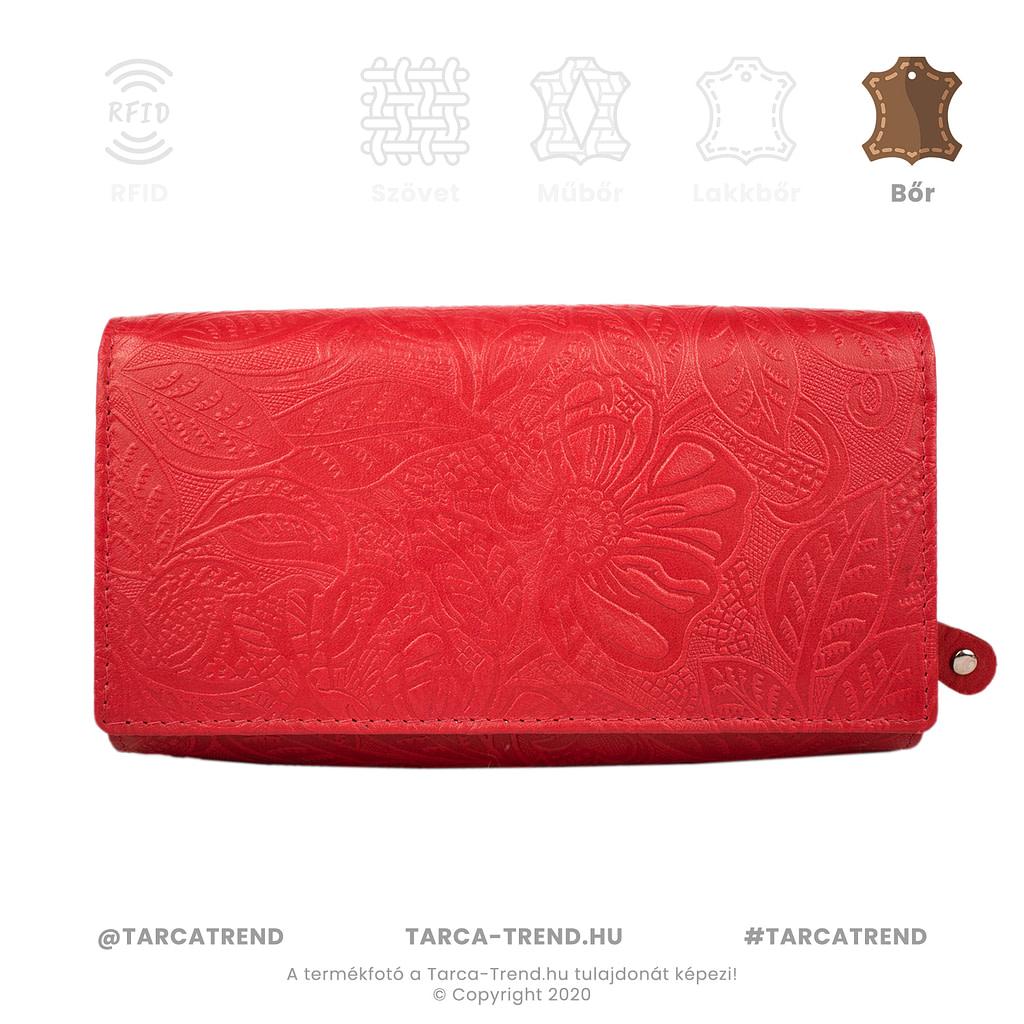 Farkas pénztárca piros fekvő cipzáros virág minta bőr 867442 tarca-trend.hu