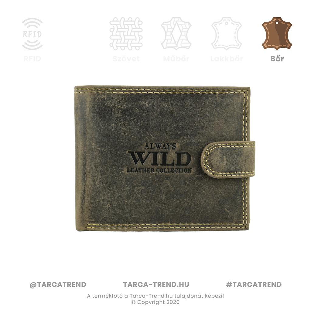 Always Wild barna koptatott bőr férfi pénztárca - www.tarca-trend.hu