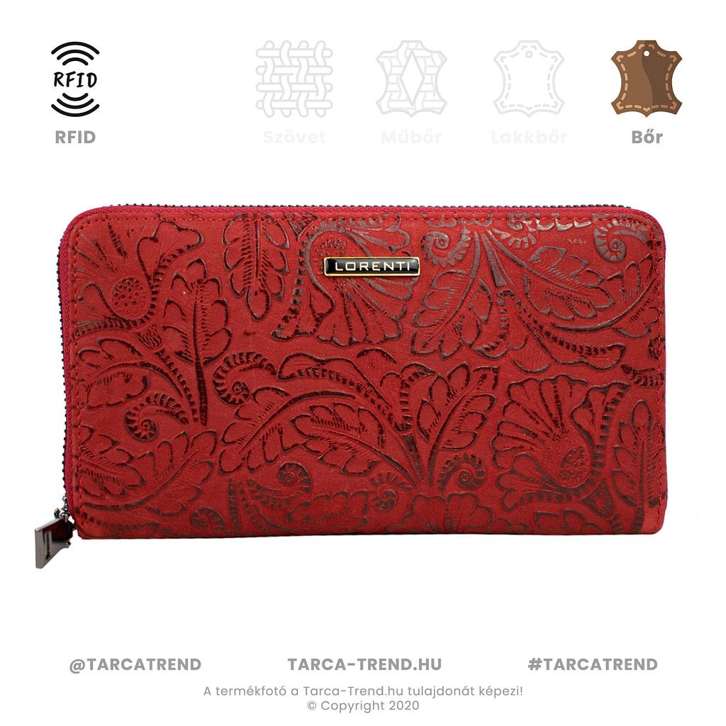 Lorenti cipzár pénztárca virág piros bőr RFID 76119 tarca-trend.hu