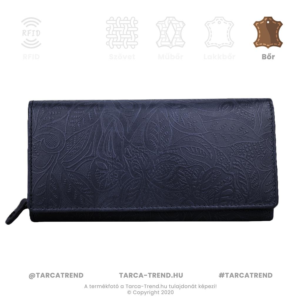 Farkas pénztárca kék fekvő cipzáros bőr virág minta 867142 tarca-trend.hu