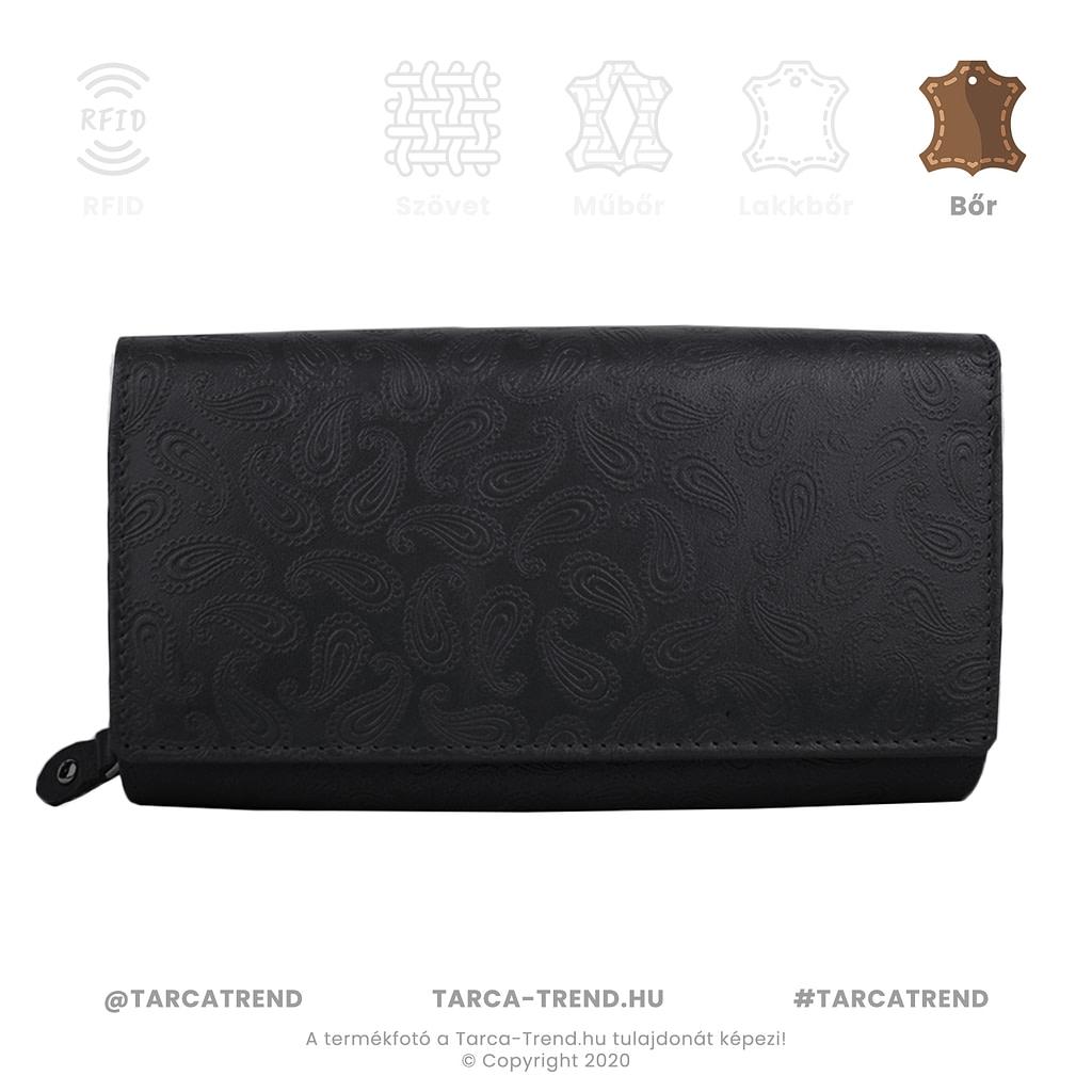 Farkas pénztárca fekete fekvő cipzáros csepp minta bőr 867441 tarca-trend.hu