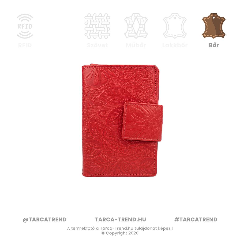 Farkas pénztárca piros álló bőr virág minta 867342 tarca-trend.hu